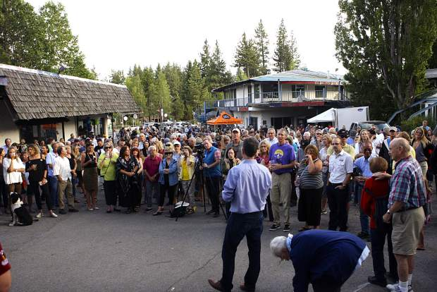 Samir Tuma addresses the crowd during the groundbreaking ceremony for the Tahoe City Lodge on Wednesday, Aug. 21.