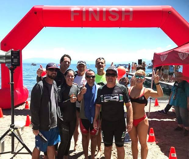 The USABA Dancing in the Ark team, here at Skylandia beach, was the first team made up of entirely blind, visually impaired and deaf-blind swimmers to compete in the Trans Tahoe Relay.