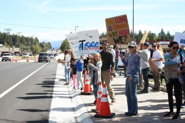 Students from Sierra Expeditionary Learning School, Creekside Charter, Truckee Elementary and Truckee High School as well as concerned communitiy members all participated in the Global Climate Strike.