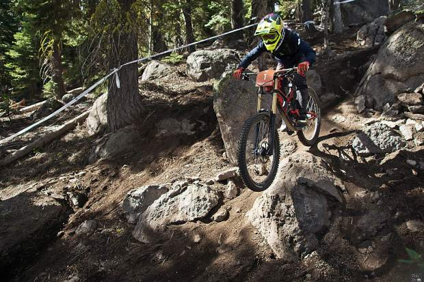 Tasha Thomas, of South Tahoe, navigates the rocky terrain at Northstar California Resort on Sunday, Sept. 22.