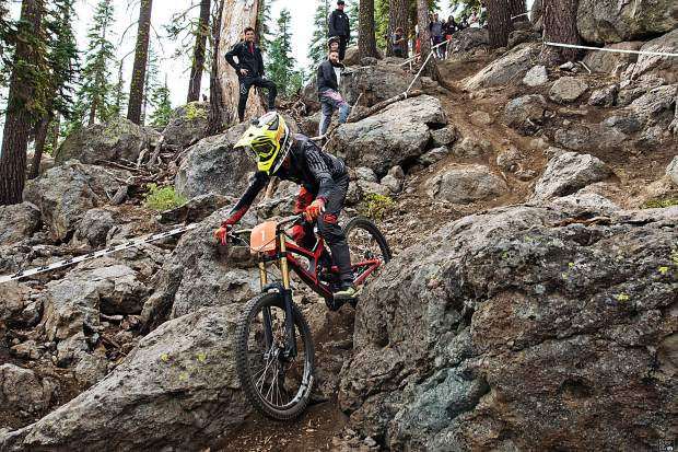 Tasha Thomas makes her way down the course at Northstar California Resort on Sunday, Sept. 22, during the final round of competition in the downhill bike series.