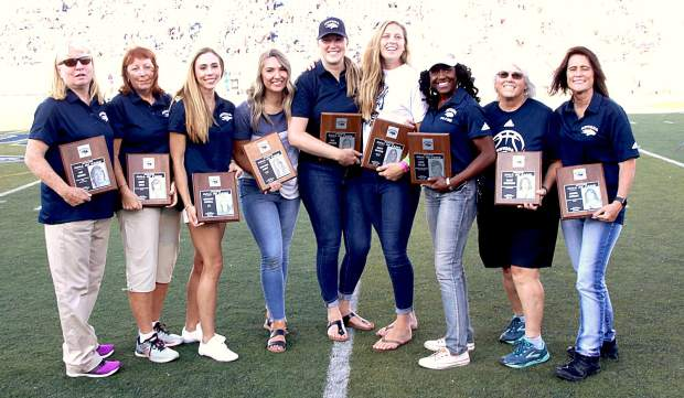 The 2019 Nevada Athletics Hall of Fame includes, from left, Pat Hixon, Cindy Rock, Meghann Morrill, Brittany Puzey, Teal Ericson, Karly Sipherd, Angie Taylor, Ellen Townsend and Regina Ratigan.