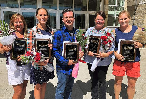 The 2019-20 Linda Brown Fellows Award recipients are, left to right: Cindy Burau, Tahoe Lake Elementary; Alicia Lampley Gebel, Sierra High School; Jason Flesock, North Tahoe High School; Lisa Lindeen, Glenshire Elementary School; and Judi Scoville, Tahoe Lake Elementary.