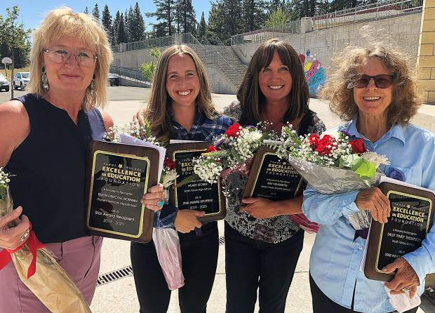 "The 2019-20 Star Award recipientsare, from left to right, Eileen Driscoll-Norman, Student Services; Hilary Stoner, North Tahoe High School; Kim Veliquette, Alder Creek Midddle School; and Sally ""Pinky"" Thompson, North Tahoe School"