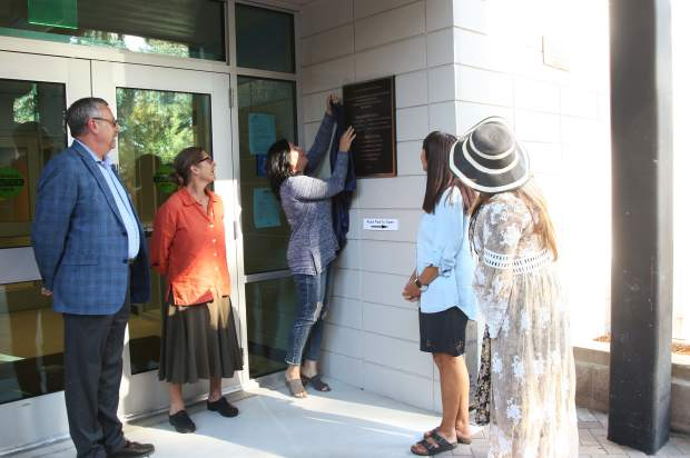 A new plaque was unveiled to commemorate the new upgrades to the school.