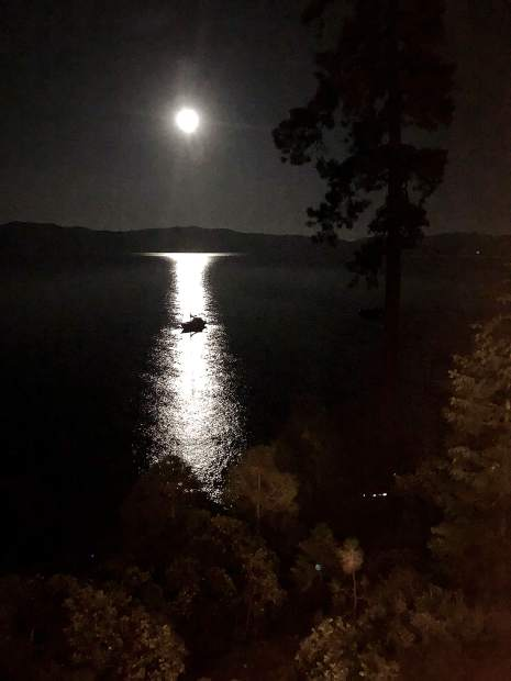 """September's Harvest Moon - Tahoe style."" Picture was taken from Carnelian Bay."