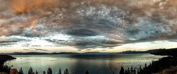 Panorama of Lake Tahoe.