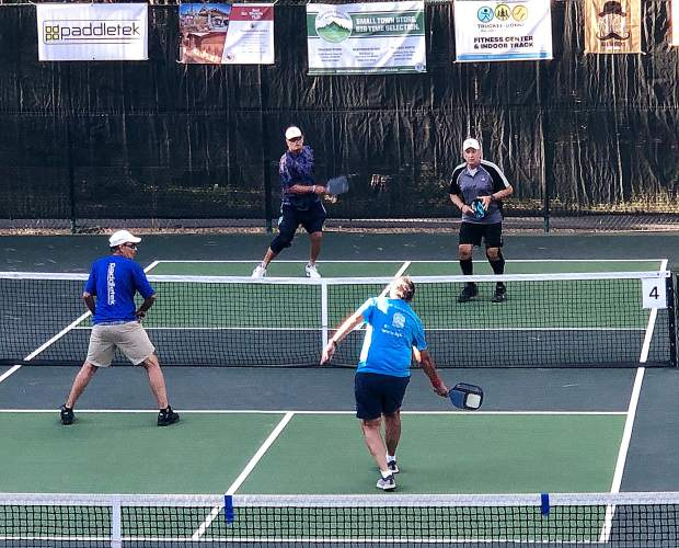 A pair of doubles teams compete in the 4.5 skill category of the men's division. The tournament honored three team medalists in each division.