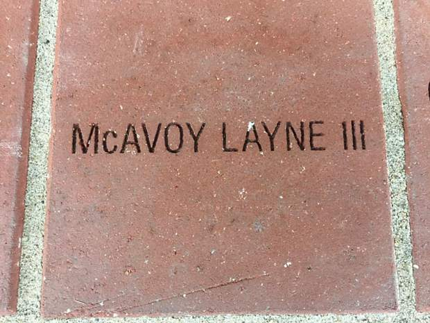 "Most of the other bricks were ""in memory of,"" but Mac's was engraved in celebration of his recent arrival, and his dad's hopes that he might like Mark Twain too."