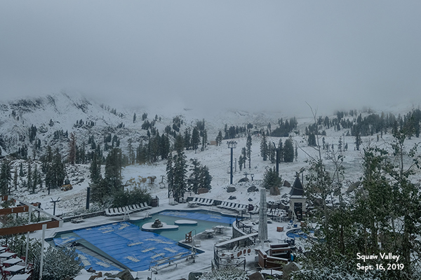 Snow blankets Squaw Valley's High Camp Monday