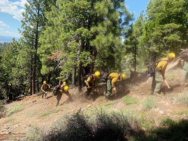 Truckee Hotshots line construction during recertification.