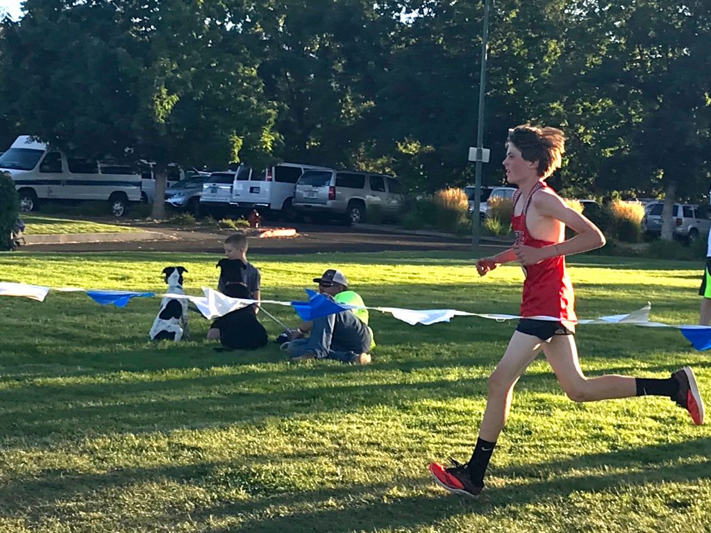 Freshman Reed Loper runs at the Nevada Twighlight Classic on Friday, Aug. 30.