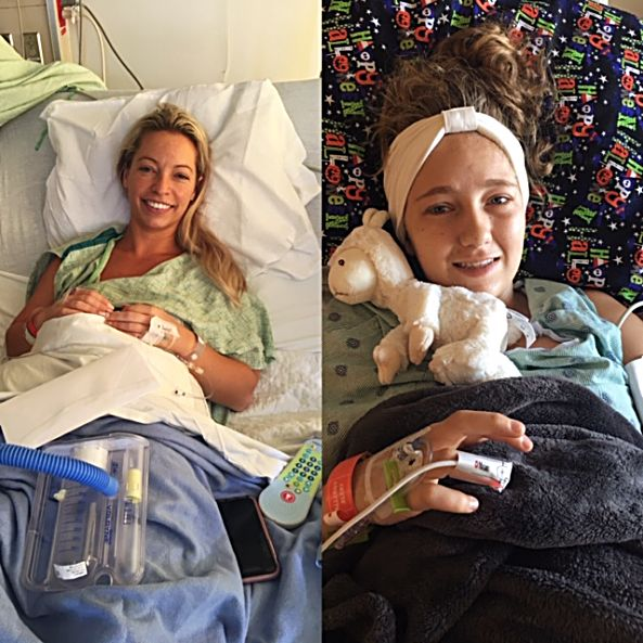 Ashlee Fox, left, recovers after donating a kidney to her fiancée's cousin, Josalyn Brown.