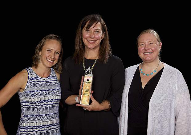 Maiya Holliday, from left, Executive Director Karen Stanley and Melissa Olsen accepted the Truckee Rising Star Award for the Truckee Roundhouse, a nonprofit maker's space that supports the teaching, learning and practicing of a wide variety of crafts, skills, techonologies and arts.