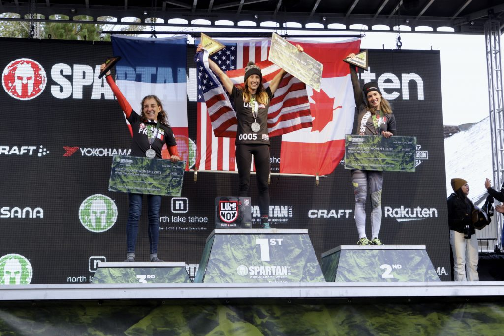 Nicole Mericle celebrates winning the 2019 Spartan World Championship at Squaw Valley Alpine Meadows.