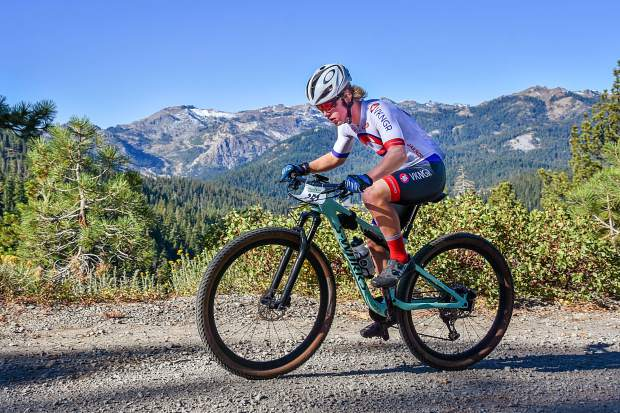 Truckee's Matt Seline races to a first-place finish in the 36-mile bike course at last Sunday's Great Trail Race.