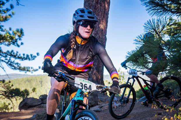 Truckee's Samantha Shields rides to the women's overall win at last Sunday's Great Trail Race.