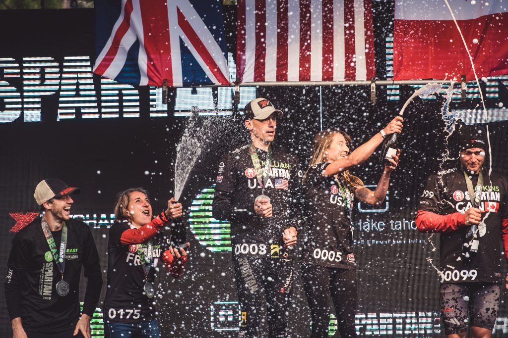 The 2019 Spartan World Champion podium finishers celebrate at Squaw Valley on Sunday, Sept. 29.
