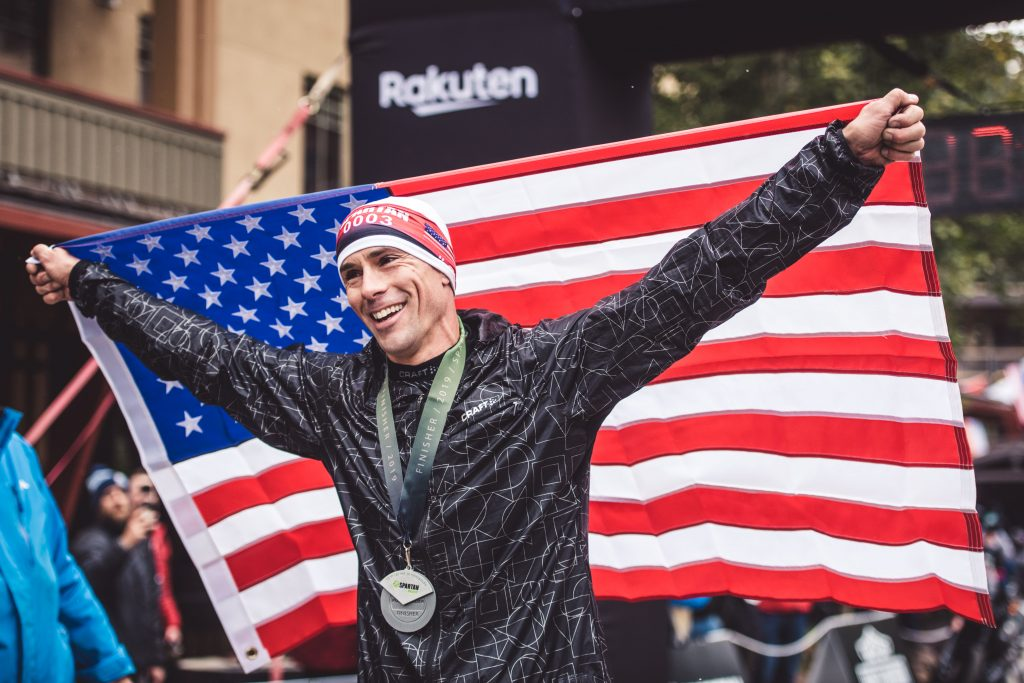 Men's champion Robert Killian celebrates after winning the Spartan World Championship at Squaw Valley.