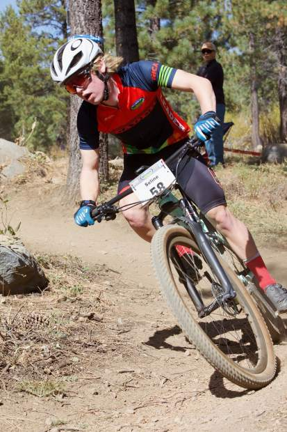 Matt Seline races around a corner during the state championships at Tahoe Donner on Sunday, Oct. 13.