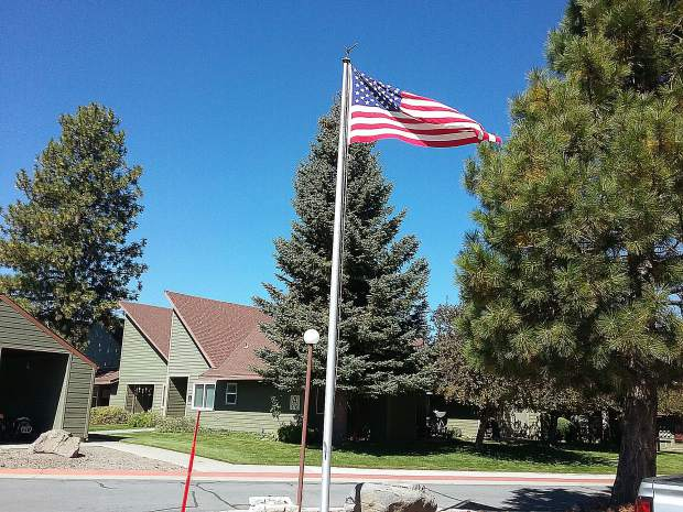 Donated Old Glory flies proudly at the Truckee Donner Senior Apartments.