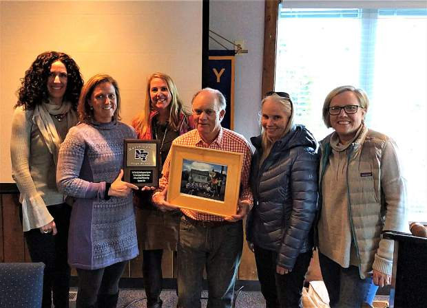 North Tahoe High School principal, Joanna Mitchell, and the PTO board attended a Rotary Club meeting to formally thank them for their contribution, which was used to purchase and install a school welcome sign.