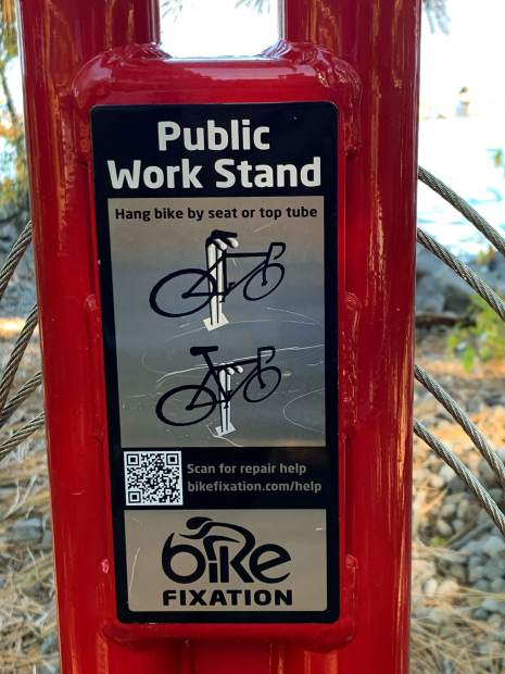 Great public service at Northshore bike trail - repair and service stand with tools and pump!