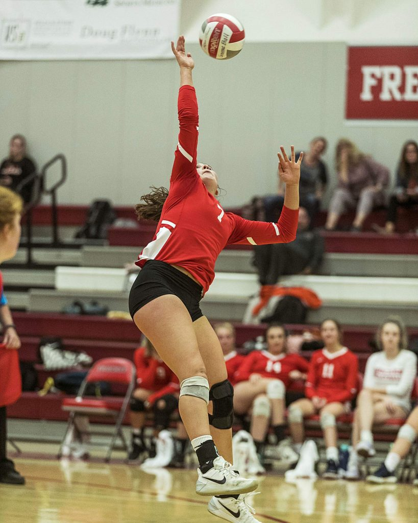Truckee senior Kelly Cross rises for her 1,000th career kill on Thursday, Oct. 24 against Fernley.