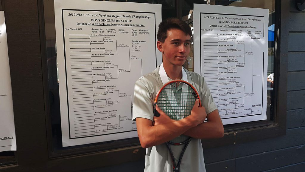 Truckee senior Lucas Sortor finished the boys' singles tournament in third place for the second straight year.