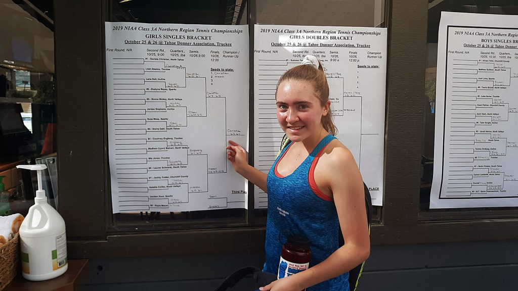 North Tahoe, junior Daniela Christian made her way through the girls' singles bracket to claim the Northern League title at Tahoe Donner on Saturday, Oct. 26.