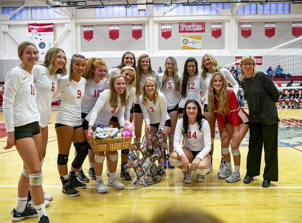 The Truckee girls' volleyball team improved to 14-0 after taking a win against Spring Creek in straight sets on Friday, Oct. 18.