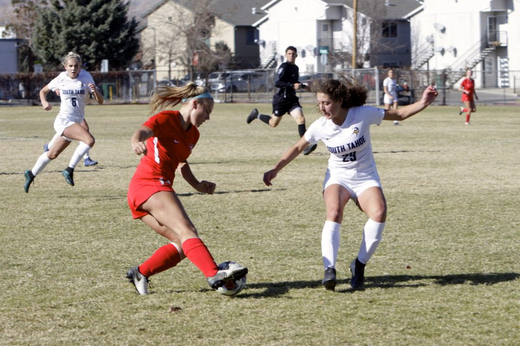 Truckee junior Taya Matt makes a move on a South Tahoe defender. Matt led Truckee this season with 20 goals.