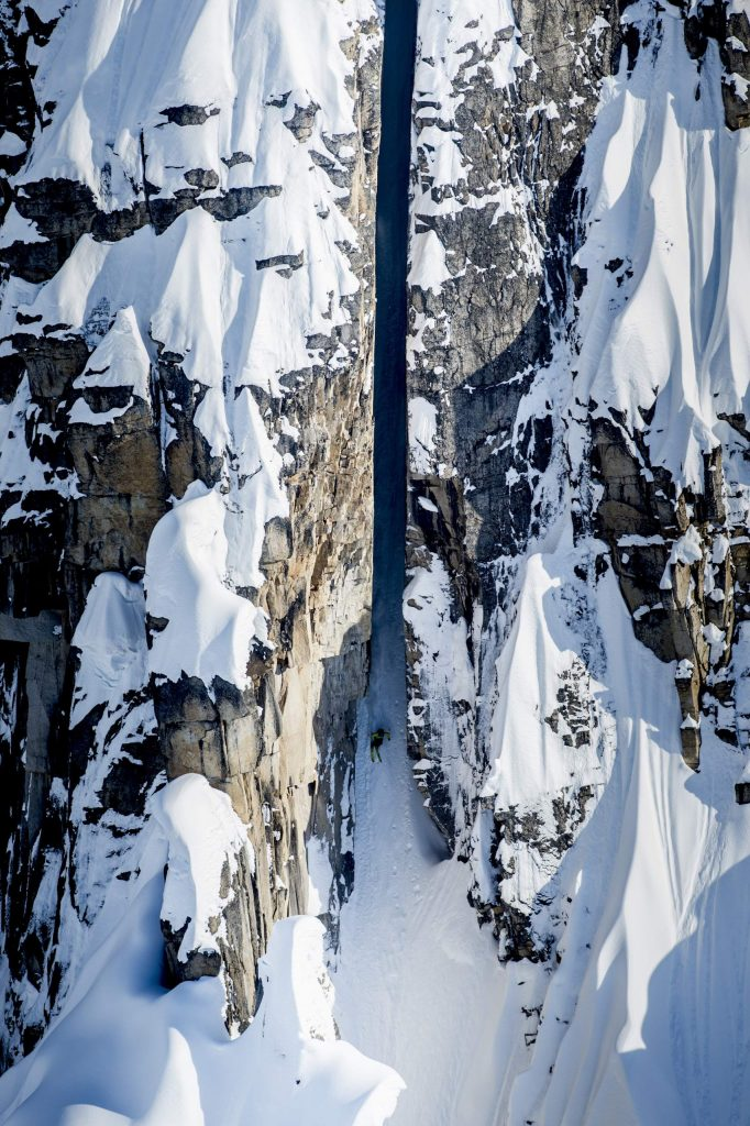 "Cody Townsend skis ""The Crack"" in the Tordrillo Mountains in Alaska on April 14, 2014."