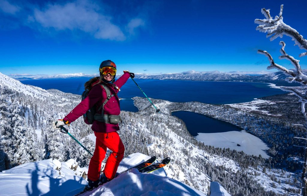 Elyse Saugstad smiles from above Lake Tahoe this past winter.