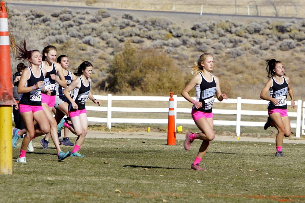 The North Tahoe girls' cross-country team races out from the start line at San Rafael Regional Park on Saturday, Nov. 2. The Lakers finished with the four fastest times of the day.
