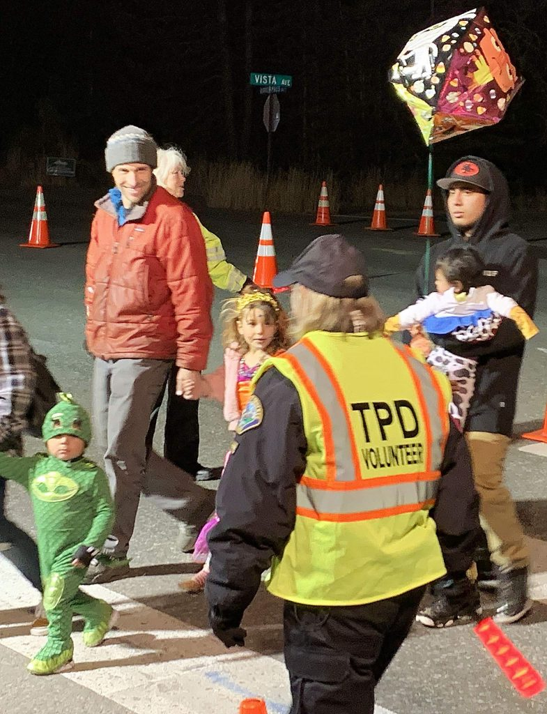 TPD volunteers on Halloween night.