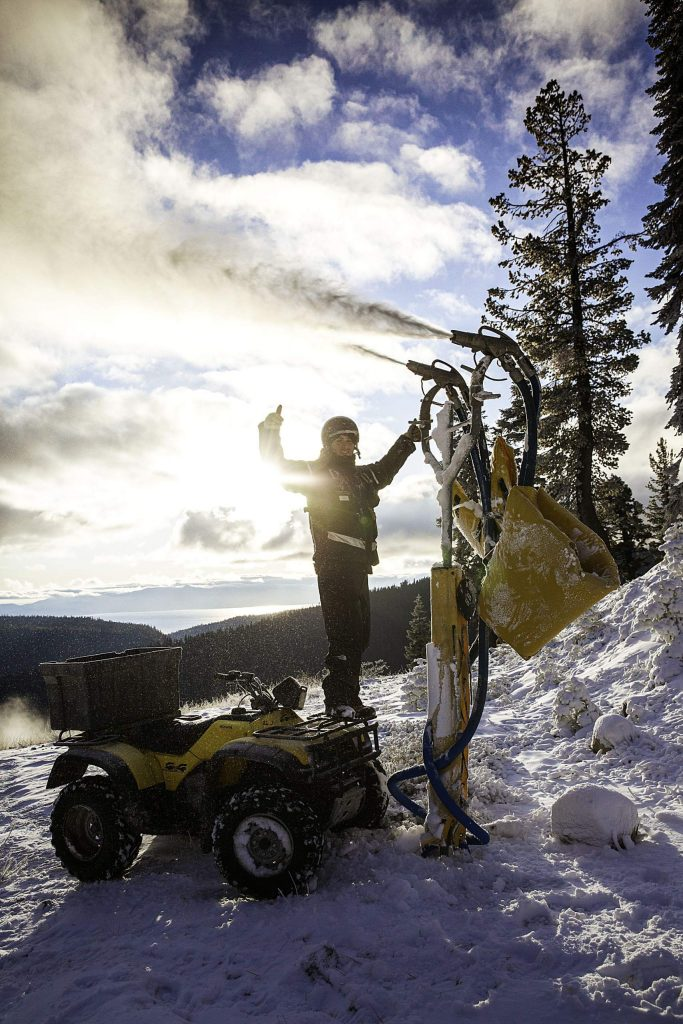Squaw Valley crews work to make snow on Red Dog.