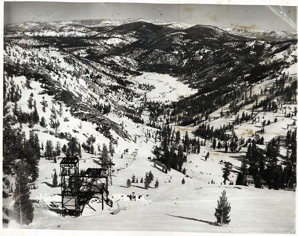 Squaw Valley's original lift, Squaw One, is shown during the 1950s.