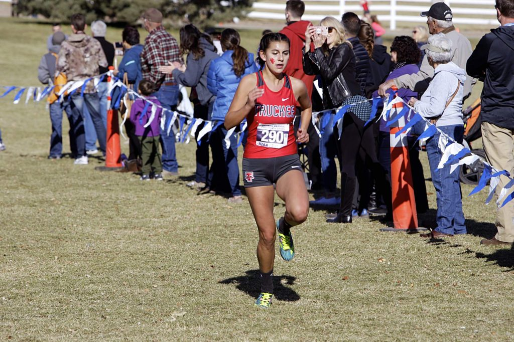 Truckee senior Isabella Terrazas races to a third-place finish at the Northern League championship meet on Saturday.