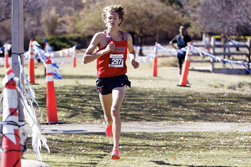 Truckee senior Montana Montgomery defended his Northern League cross-country title on Saturday at Rancho San Rafael Park.