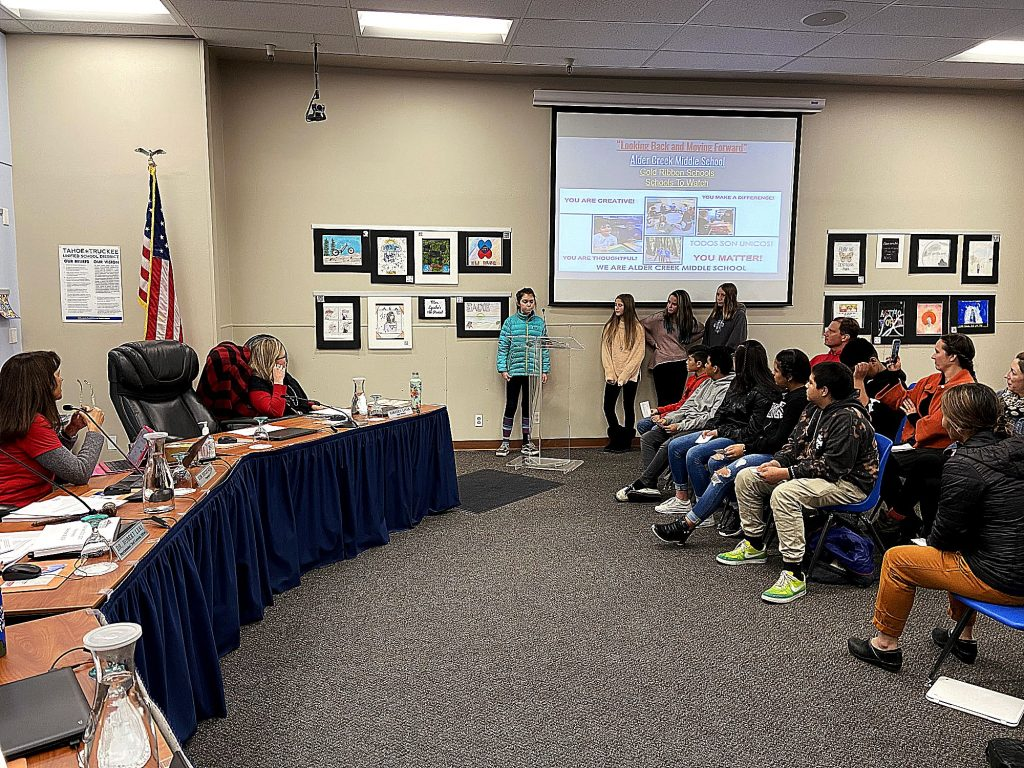 Student leaders from Alder Creek Middle School make a great presentation about their amazing school to the TTUSD board on Wednesday night.