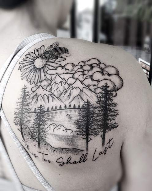 A Lake Tahoe-centric tattoo inked by Natisse Thomas, who has a studio at Needle Peak Tattoo in South Lake Tahoe.