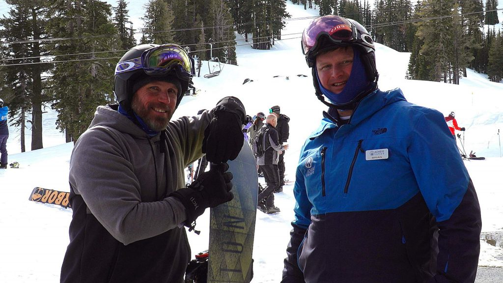 Todd Bamford (left) and his instructor Brian Willson (right) were starting to carve turns snowboarding toward the end of the Achieve Tahoe event.
