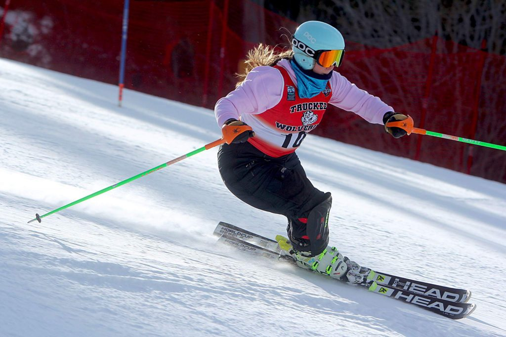 Truckee's Kate Kelly skis to a second-place finish at Heavenly Mountain Resort on Wednesday. Kelly led the Wolverines to a second straight team win to open the season.
