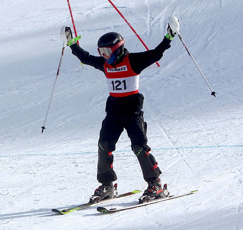 Truckee's Jason Roth celebrates after completing a run at Heavenly.