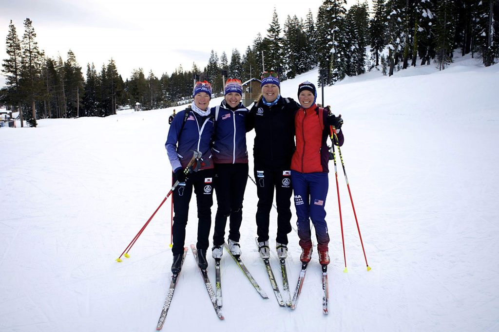 The Biathamoms, from left, Jen Lang-Ree, Kim Harris, Buff Wendt, and Lisa Holan will travel to Austria this month to compete in the World Winter Masters Games.