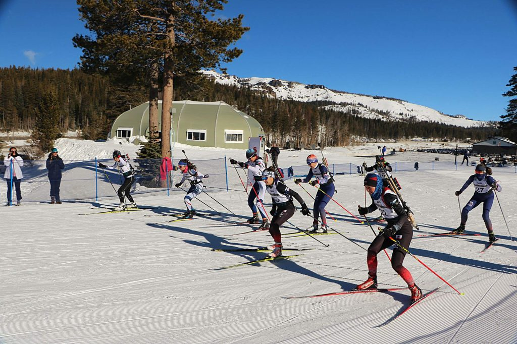 The pro women take off from the start of last Sunday's 10th Mountain Division Biathlon.