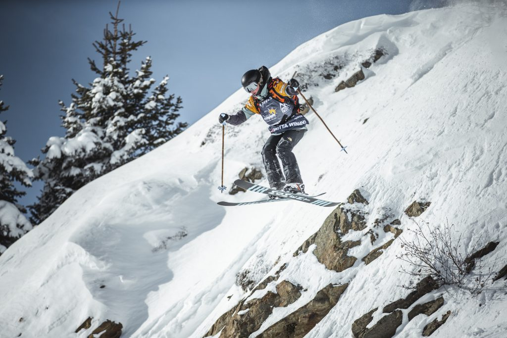Britta Winans competes in Kappl, Austria at the Freeride Junior World Championship.