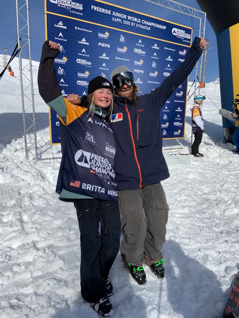 Britta Winans and Squaw Free coach Kevin Omeara celebrate in Kaapl, Austria at the Freeride Junior Championship.