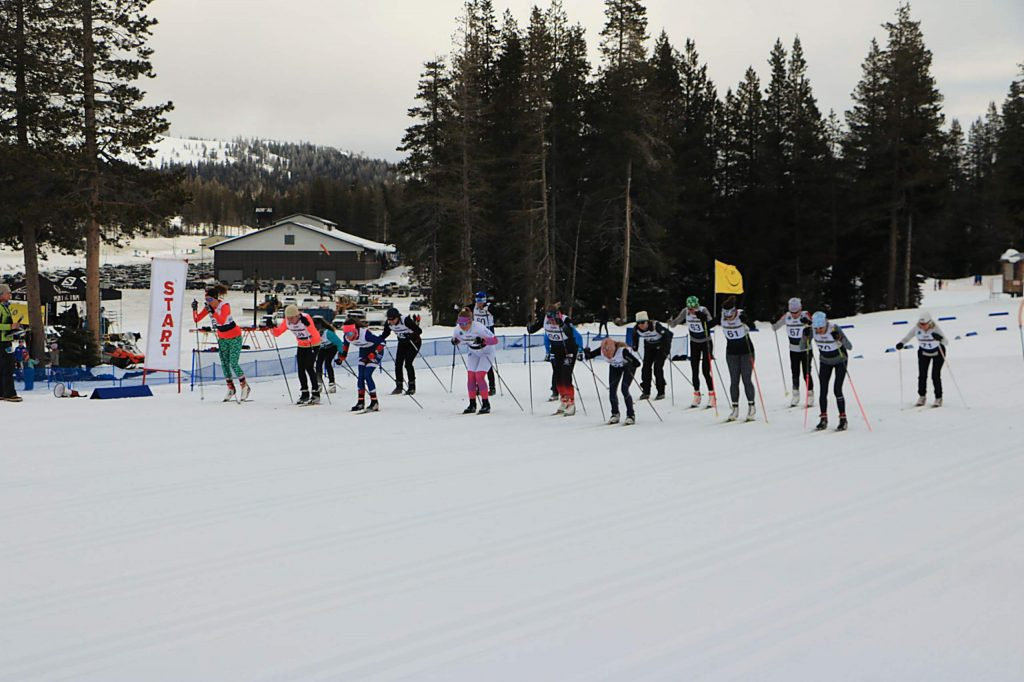 Skiers take off from the start of Paco's Freestyle at Auburn Ski Club. Truckee's Sarah Maile (63) won the women's 15-kilometer race.